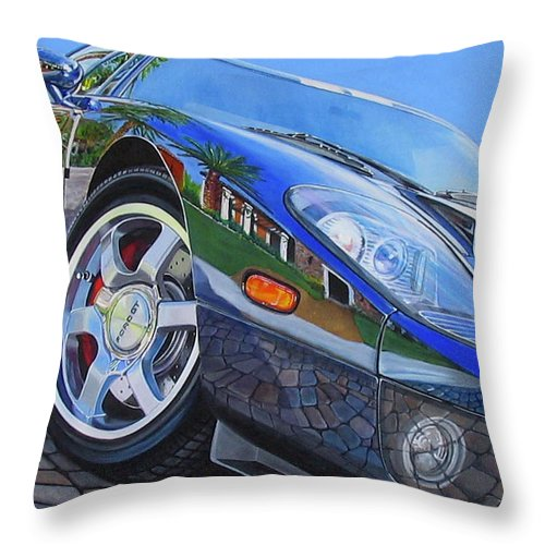 Car Throw Pillow featuring the painting Love On The Rocks by Lynn Masters