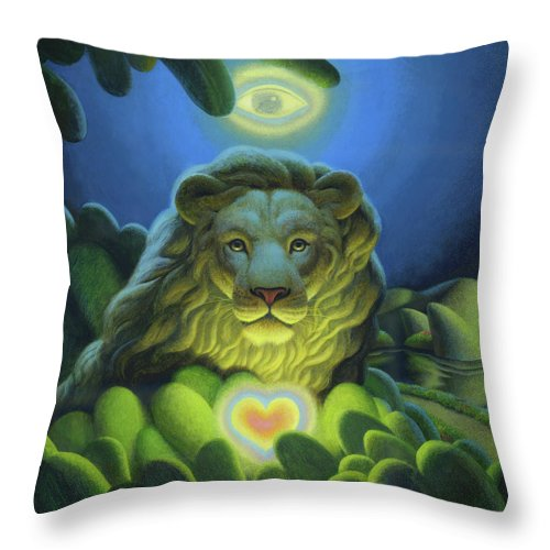 Lion Throw Pillow featuring the painting Love, Strength, Wisdom by Chris Miles