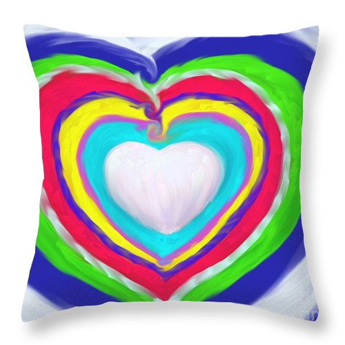 Heart Paintings Throw Pillow featuring the painting Love Surrounds Love Surrounds Love by Roxy Riou