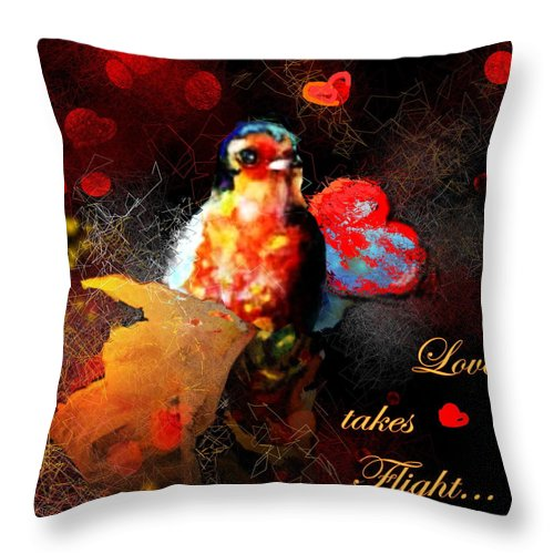 Love Throw Pillow featuring the painting Love Takes Flight by Miki De Goodaboom