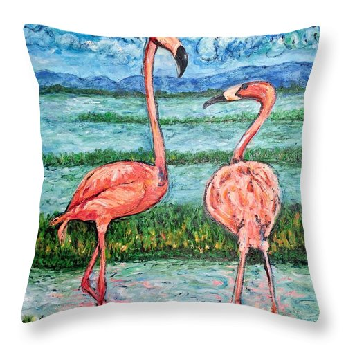 Lanscape Throw Pillow featuring the painting Love Talk by Ericka Herazo