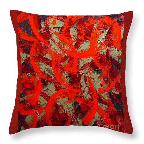 Abstract Throw Pillow featuring the painting Love Trails by Dean Triolo