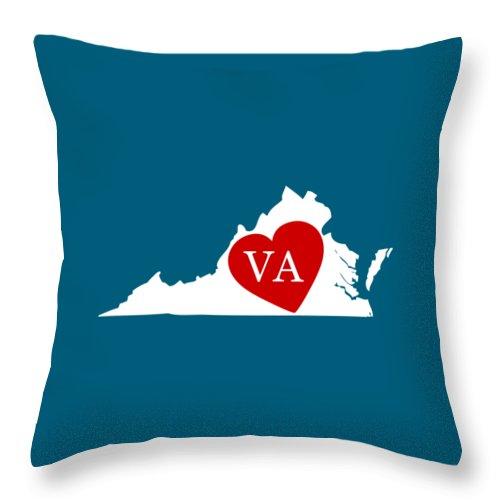 Virginia Throw Pillow featuring the digital art Love Virginia White by Custom Home Fashions