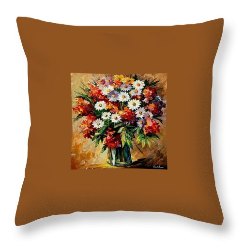 Still Life Throw Pillow featuring the painting Lovely Bouquet by Leonid Afremov