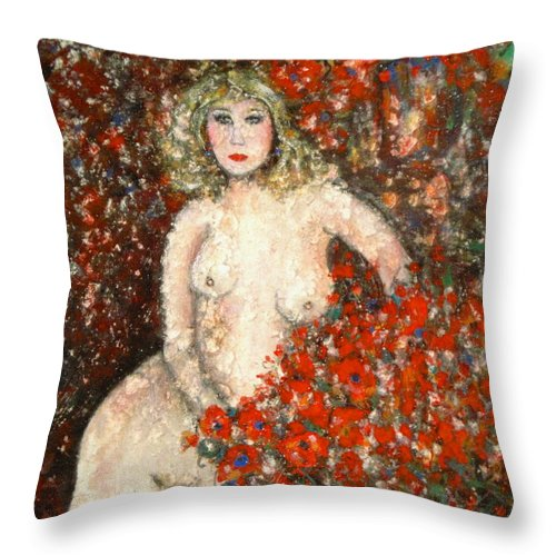Nude Throw Pillow featuring the painting Lovely Flora by Natalie Holland