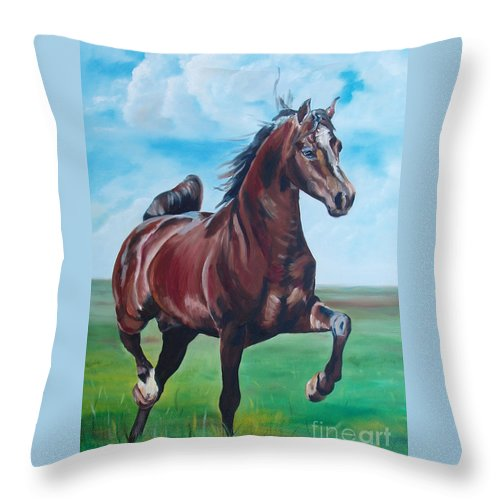 Horse Throw Pillow featuring the painting Lovely by Gina De Gorna