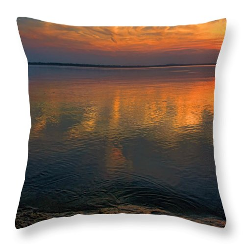 Sunset Throw Pillow featuring the photograph Lovely Lakeside View by Carolyn Fletcher