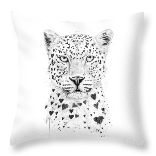 Leopard Throw Pillow featuring the drawing Lovely leopard by Balazs Solti