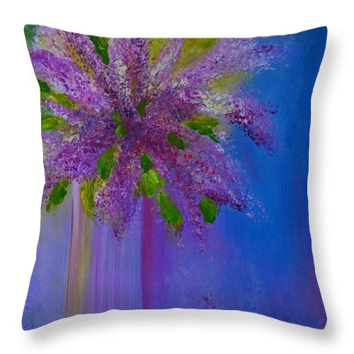 Spring Throw Pillow featuring the painting Lovely Lilacs by Claire Bull