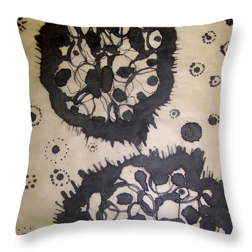 Abstract Throw Pillow featuring the painting Lovely Mutation by Angela Dickerson