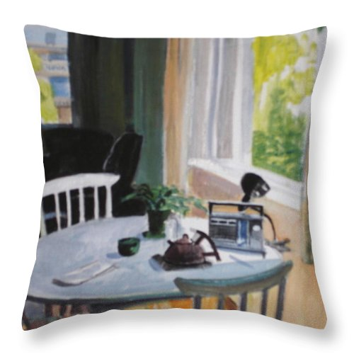 Table Throw Pillow featuring the painting Lovely Small Apartment by Emily Gibson