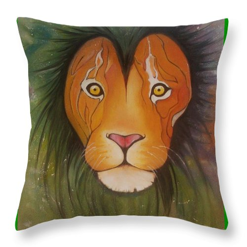 #lion #oilpainting #animal #colorful Throw Pillow featuring the painting LovelyLion by Anne Sue