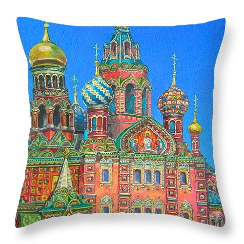 Church Throw Pillow featuring the painting Russian Church by Elena Yalcin