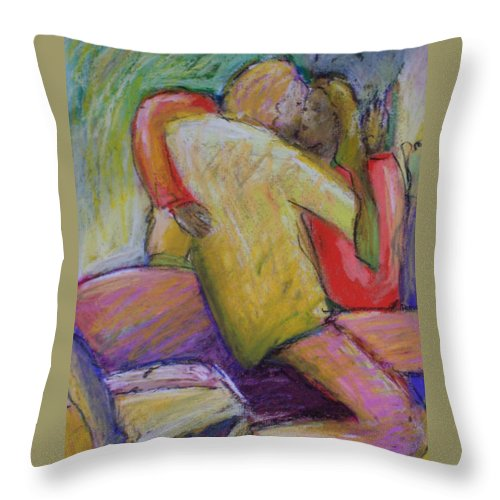 Lovers Throw Pillow featuring the painting Lovers Embrace by Angelina Marino
