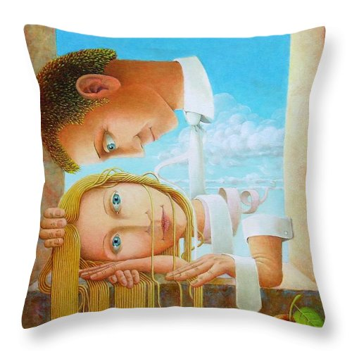 Love Throw Pillow featuring the painting Lovers by Giuseppe Mariotti