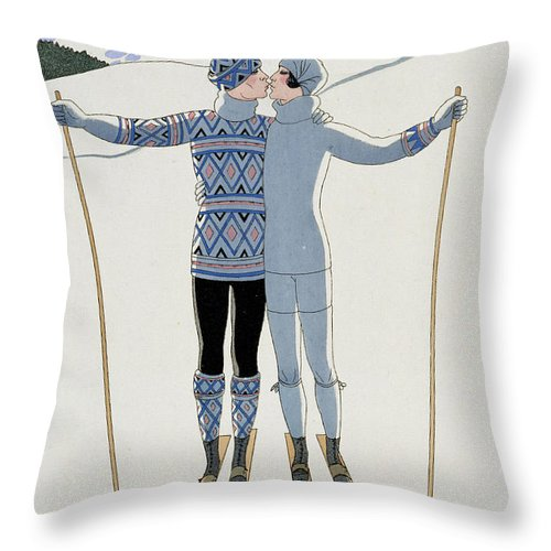 Winter: Lovers In The Snow Throw Pillow featuring the painting Lovers In The Snow by Georges Barbier