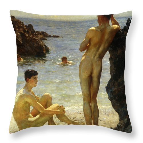 Nudes Throw Pillow featuring the painting Lovers Of The Sun by Henry Scott Tuke