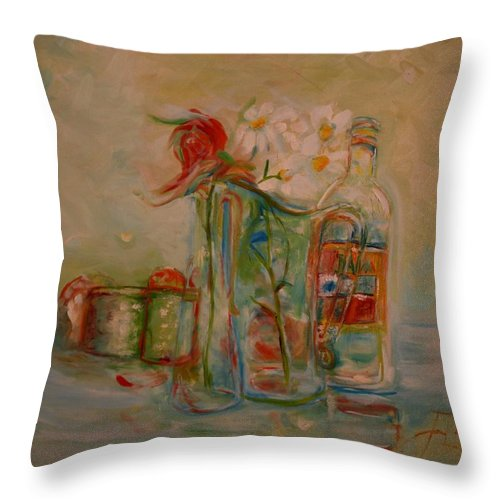 Rose Throw Pillow featuring the painting Lovers Picnic by Jack Diamond