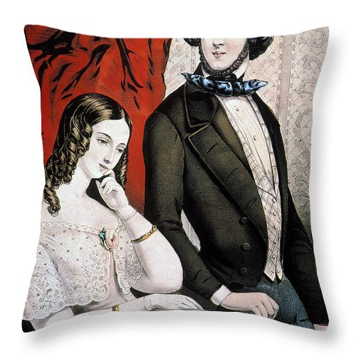 1846 Throw Pillow featuring the photograph Lovers Quarrel, 1846 by Granger