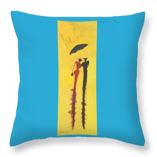 City Throw Pillow featuring the painting Walking In The Rain Is No2 Lovers Walk Series by Richard Benson