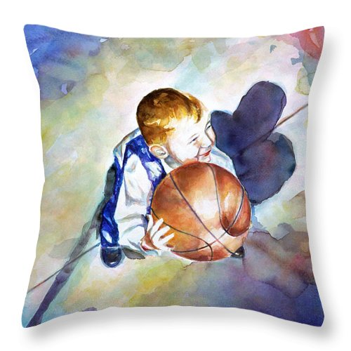 Watercolor Throw Pillow featuring the painting Loves the Game by Shannon Grissom