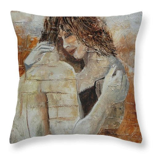Girl Throw Pillow featuring the painting Loving Couple by Pol Ledent