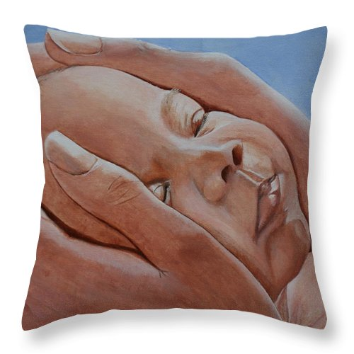 Baby Throw Pillow featuring the painting Loving Hands by Betty-Anne McDonald