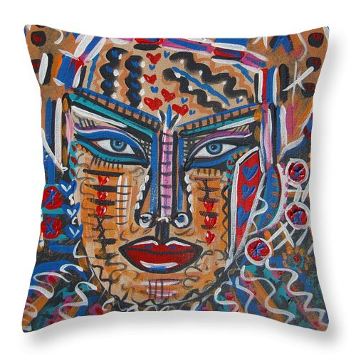 Abstract Throw Pillow featuring the painting Loviola by Natalie Holland
