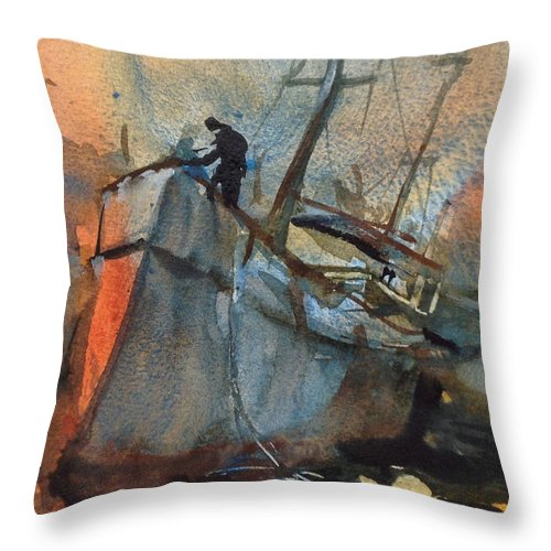 Nautical Throw Pillow featuring the painting Low Tide at St. Ives by Charles Rowland