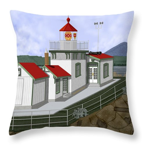Lighthouse Throw Pillow featuring the painting Low Tide At West Point Lighthouse In Seattle by Anne Norskog