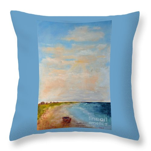 Low Throw Pillow featuring the painting Low Tide by Patricia Caldwell