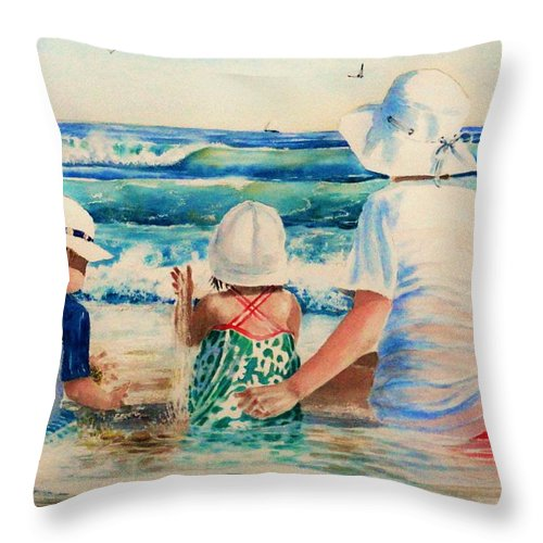 Beach Throw Pillow featuring the painting Low Tide by Tom Harris