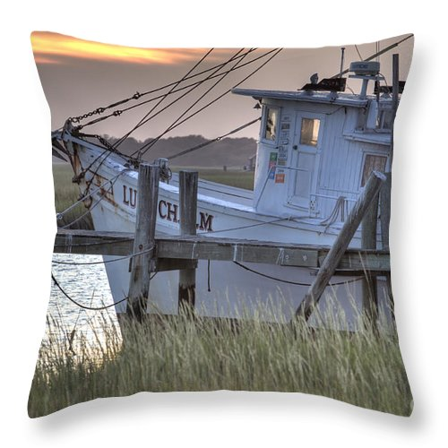 Lowcountry Throw Pillow featuring the photograph Lowcountry Shrimp Boat Sunset by Dustin K Ryan