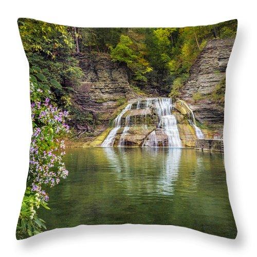 New York Throw Pillow featuring the photograph Lower Falls Of Enfield Glen Robert H. Treman State Park by Karen Jorstad