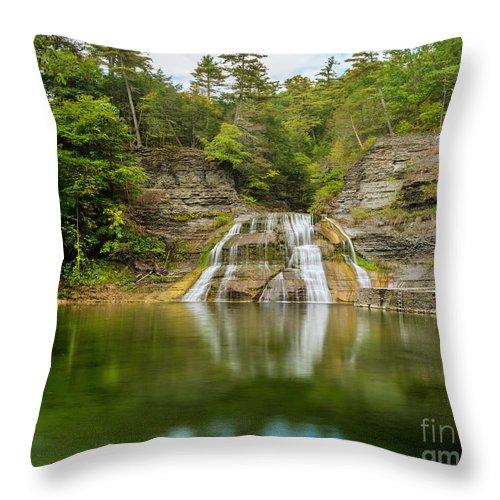 New York Throw Pillow featuring the photograph Lower Falls Reflection Of Enfield Glen by Karen Jorstad