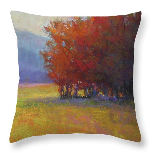 Landscape Throw Pillow featuring the painting Lower Farm Field by Susan Williamson
