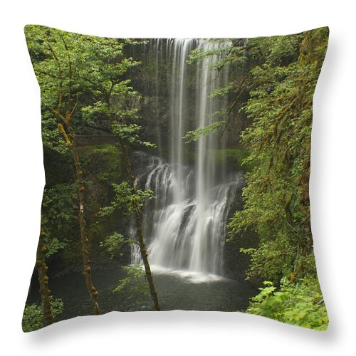 Silver Falls Throw Pillow featuring the photograph Lower South Falls by Idaho Scenic Images Linda Lantzy