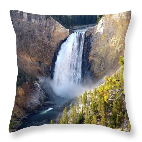 Falls Throw Pillow featuring the photograph Lower Yellowstone Falls From Inspiration Point by Jean Wright