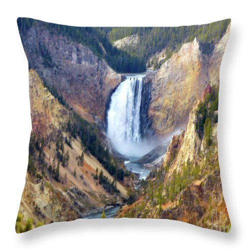 Falls Throw Pillow featuring the photograph Lower Yellowstone Falls by Jean Wright