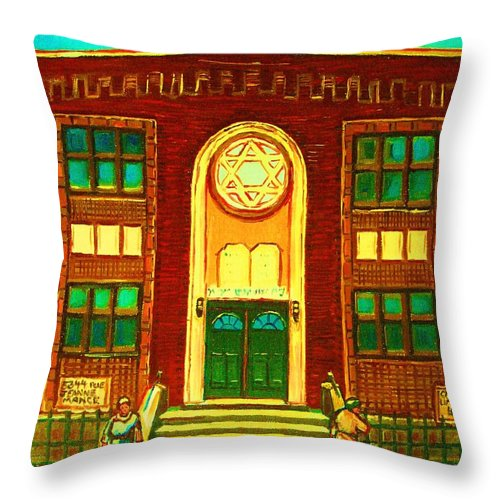 Judaica Throw Pillow featuring the painting Lubavitch Synagogue by Carole Spandau