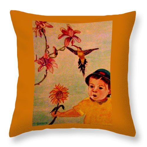 France Throw Pillow featuring the painting Lucas Le Petit Tournesol by Rusty Gladdish
