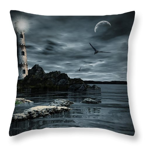 Lighthouse Throw Pillow featuring the photograph Lucent Dimness by Lourry Legarde