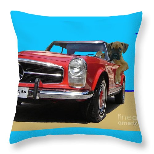 Pets Portraits. Pets Art Throw Pillow featuring the painting Lucky Boy by Sinisa Saratlic