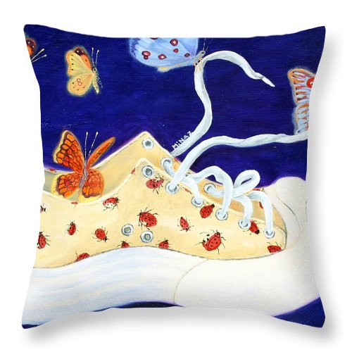 Running Shoes Throw Pillow featuring the painting Lucky Lady Bug Shoe by Minaz Jantz