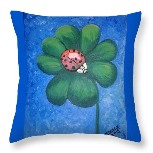 Ladybug Throw Pillow featuring the painting Lucky Ladybug on 4-Leaf Clover by Monica Resinger
