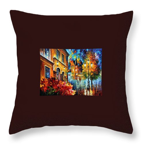 Afremov Throw Pillow featuring the painting Lucky Night by Leonid Afremov