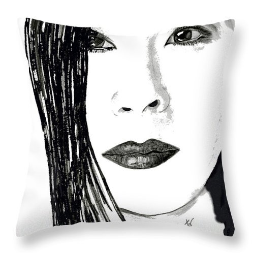 Lucy Liu Throw Pillow featuring the drawing Lucy Liu by Donna Proctor