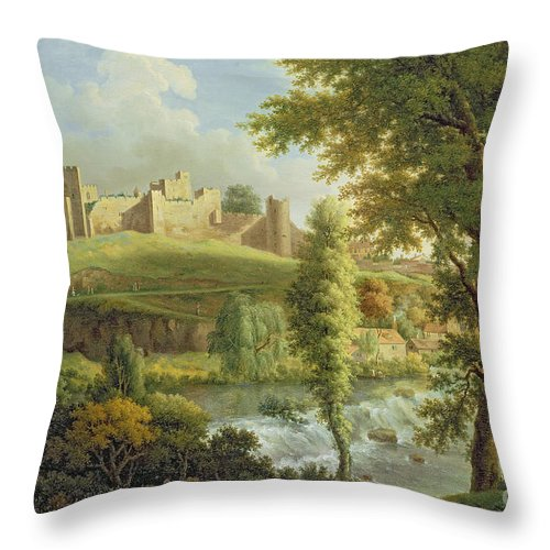 Ludlow Throw Pillow featuring the painting Ludlow Castle With Dinham Weir by Samuel Scott
