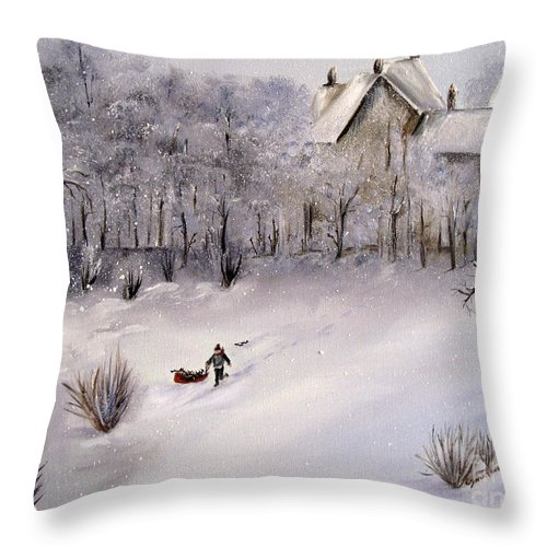 Snow Throw Pillow featuring the painting Lukas Fetching Wood by Carol Sweetwood