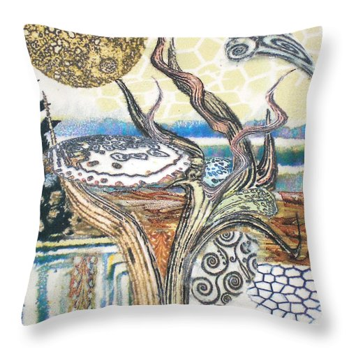 Abstract Throw Pillow featuring the painting Luna 2 by Valerie Meotti